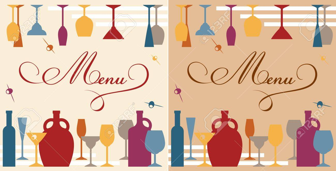 Menu template for bar or restaurant with dishware and bottles - 20721614