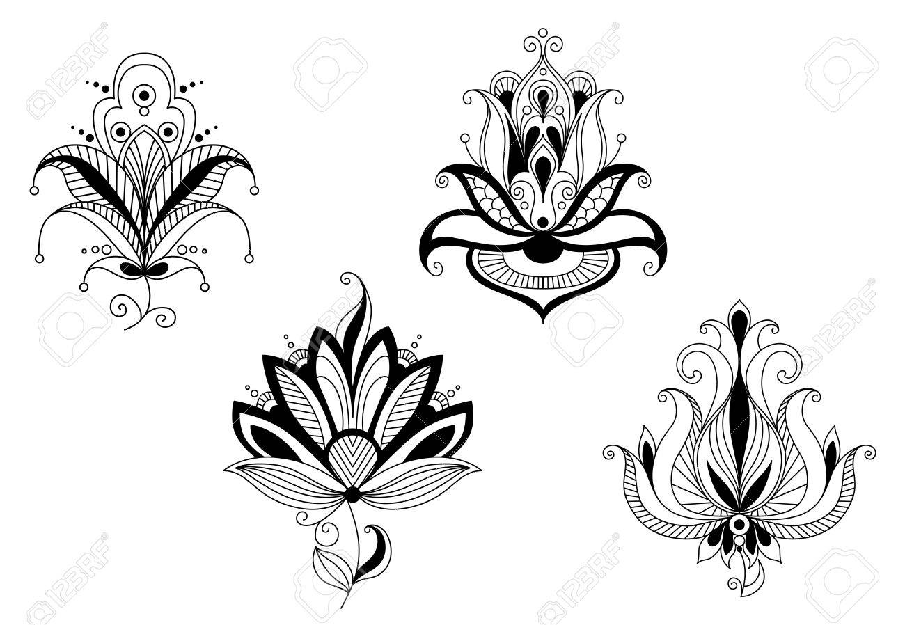Abstract flower blossoms and petals set for design Stock Vector - 20916294