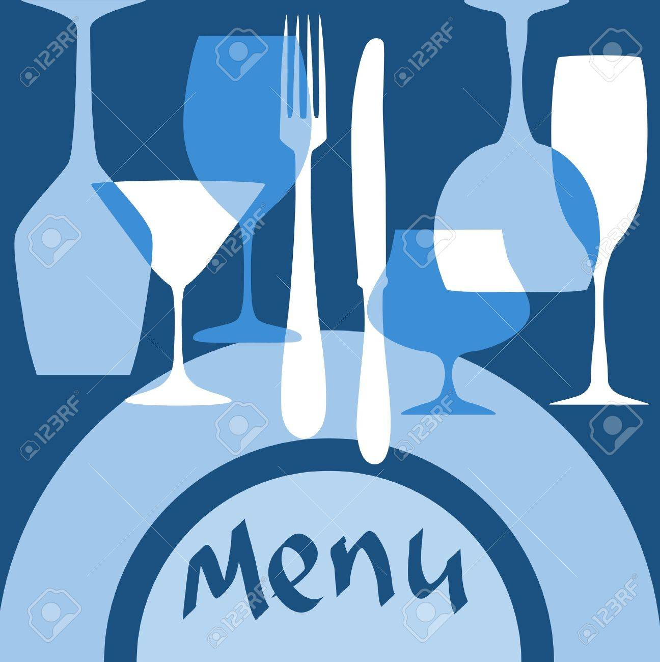 Restaurant menu cover with dishware in blue colors for design - 20916305