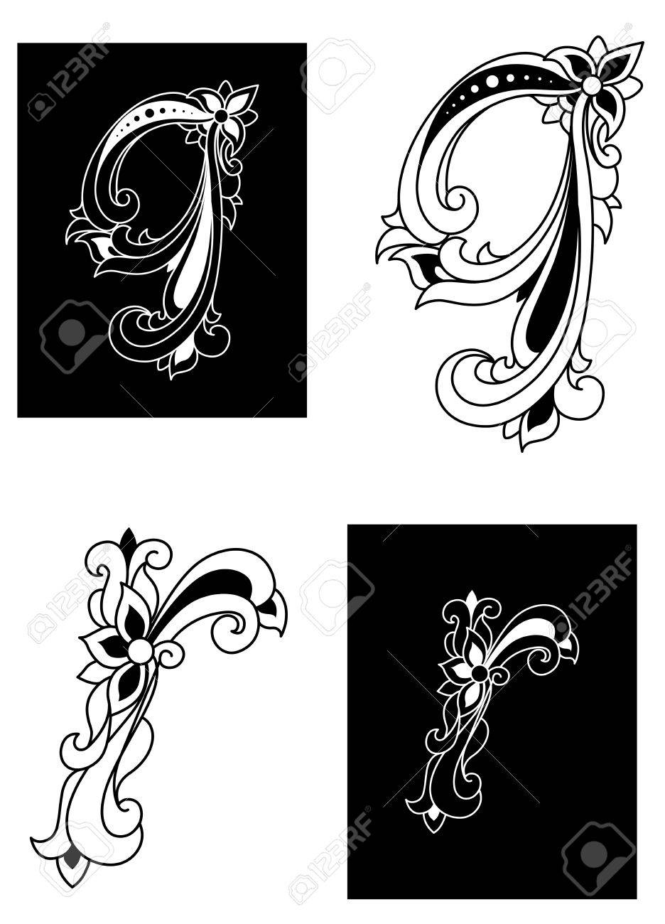 Decorative Letters Decorative Letters Q And R In Floral Style For Design And Ornate