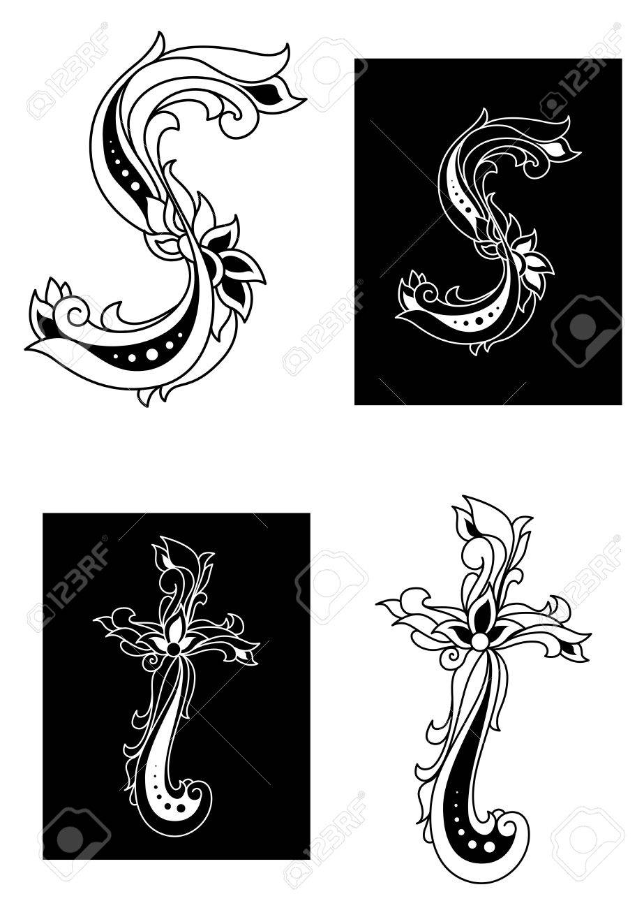 s and t decorative letters in retro floral style stock vector 21077895