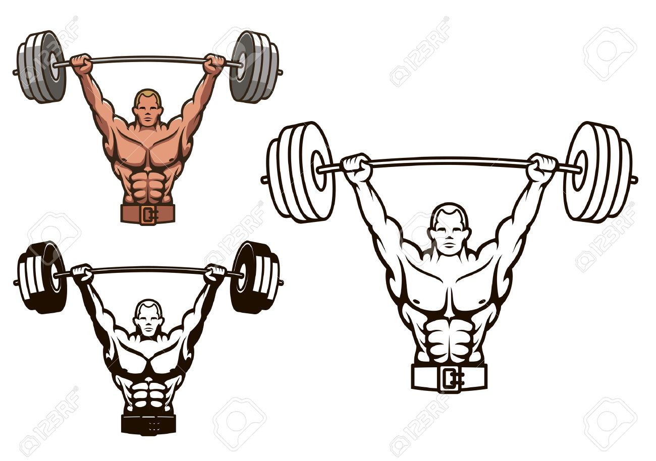 Bodybuilder with barbell for sports mascot or health concept design Stock Vector - 21077897
