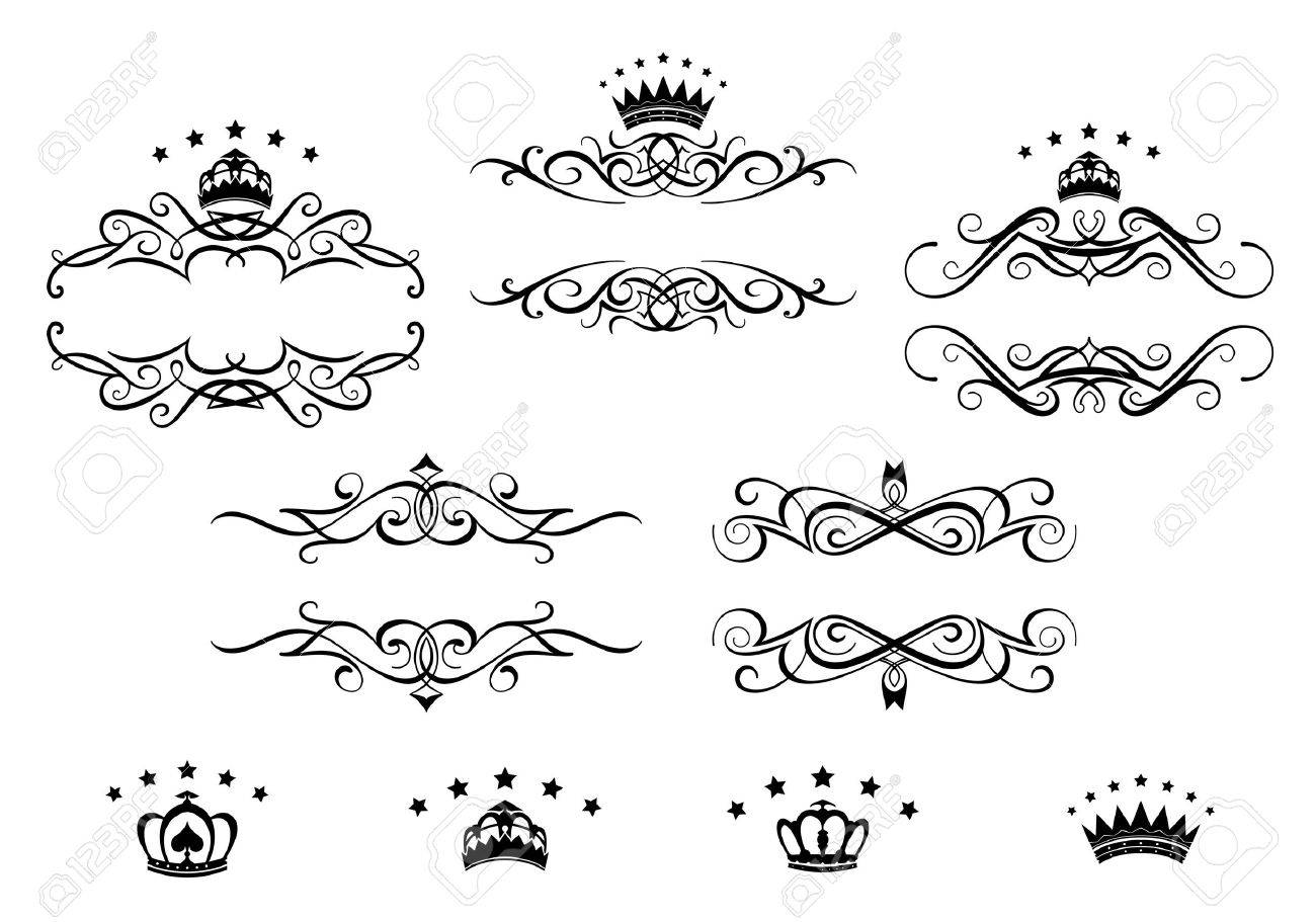 Marcos Retro Establecido Con Las Coronas Reales De Diseño De La ...