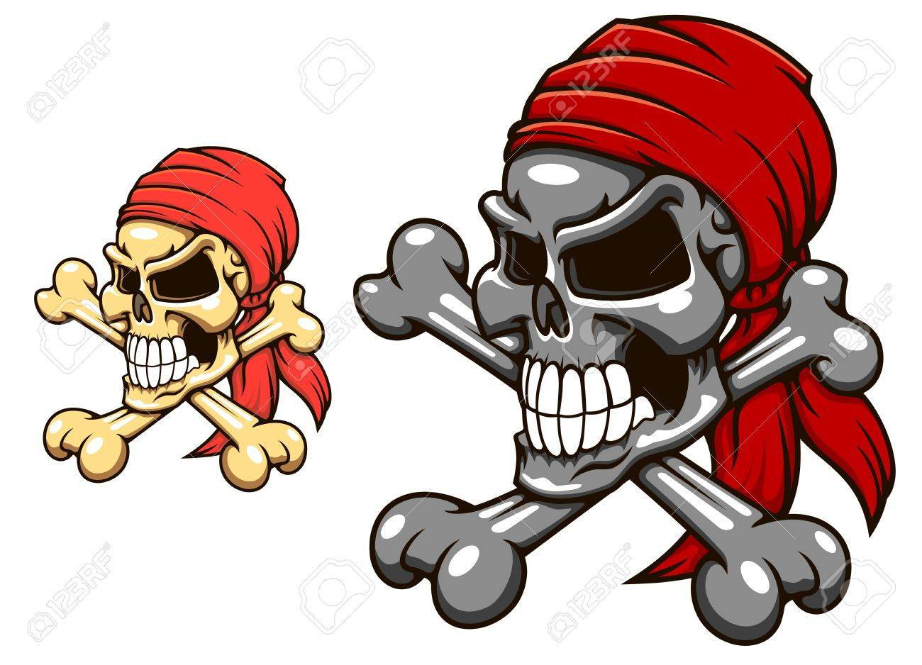 Pirate skull with crossbones in cartoon style for tattoo or mascot design Stock Vector - 21317751