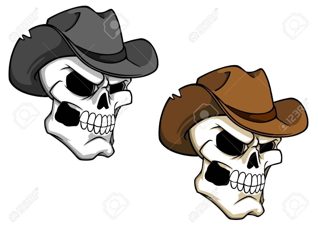 Cowboy skull in brown hat for tattoo or mascot Stock Vector - 21317787