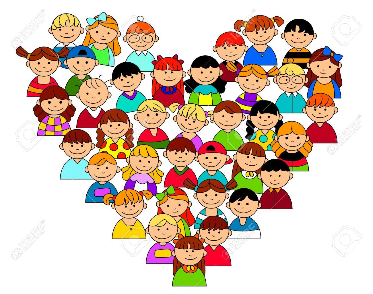 Forma De Corazón Con Los Niños Y Niñas Para La Amistad Y El Amor ...
