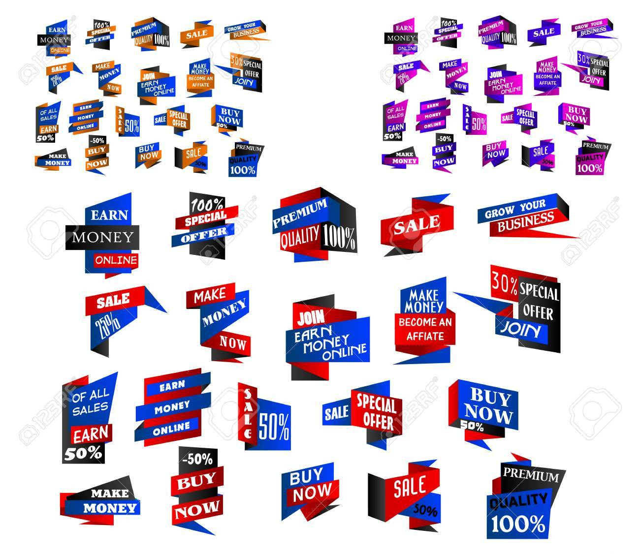 Origami banners, stickers and labels set for retail industry and web design Stock Vector - 21756180