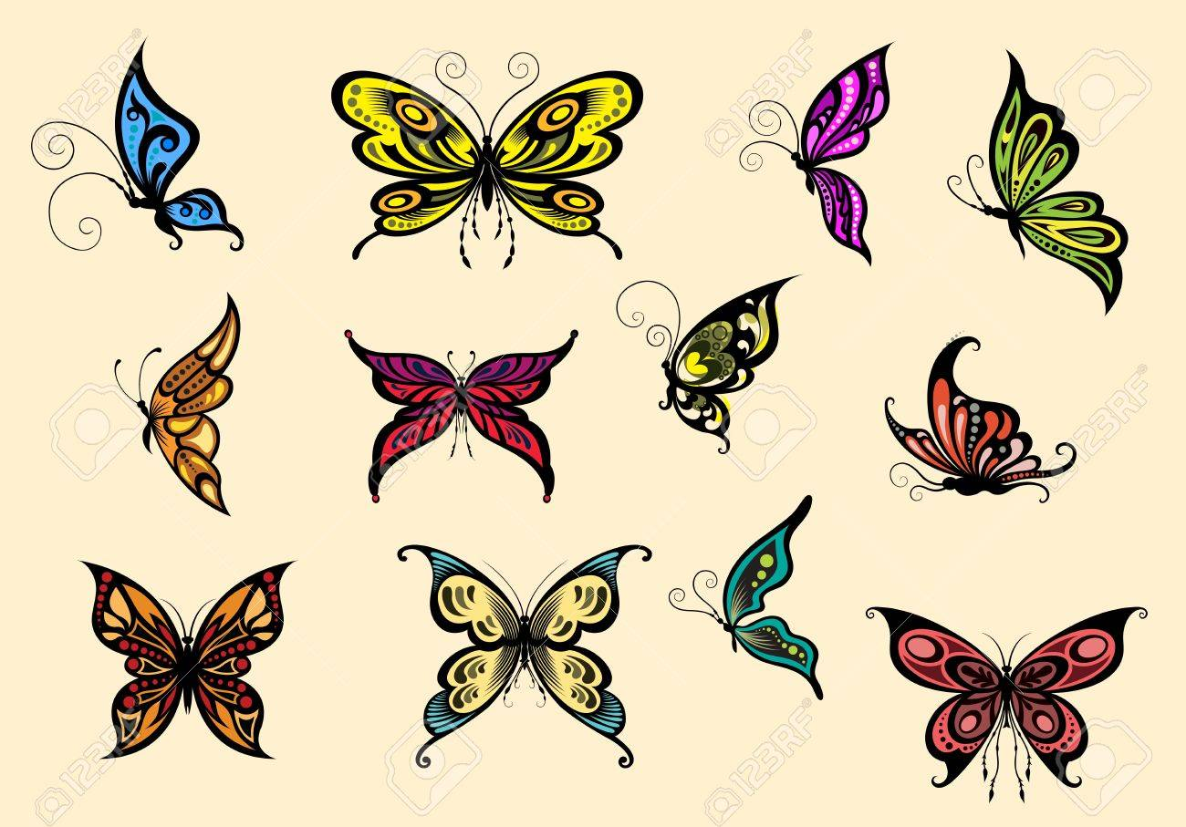 Set of colorful butterflyes isolated on background Stock Vector - 21770284