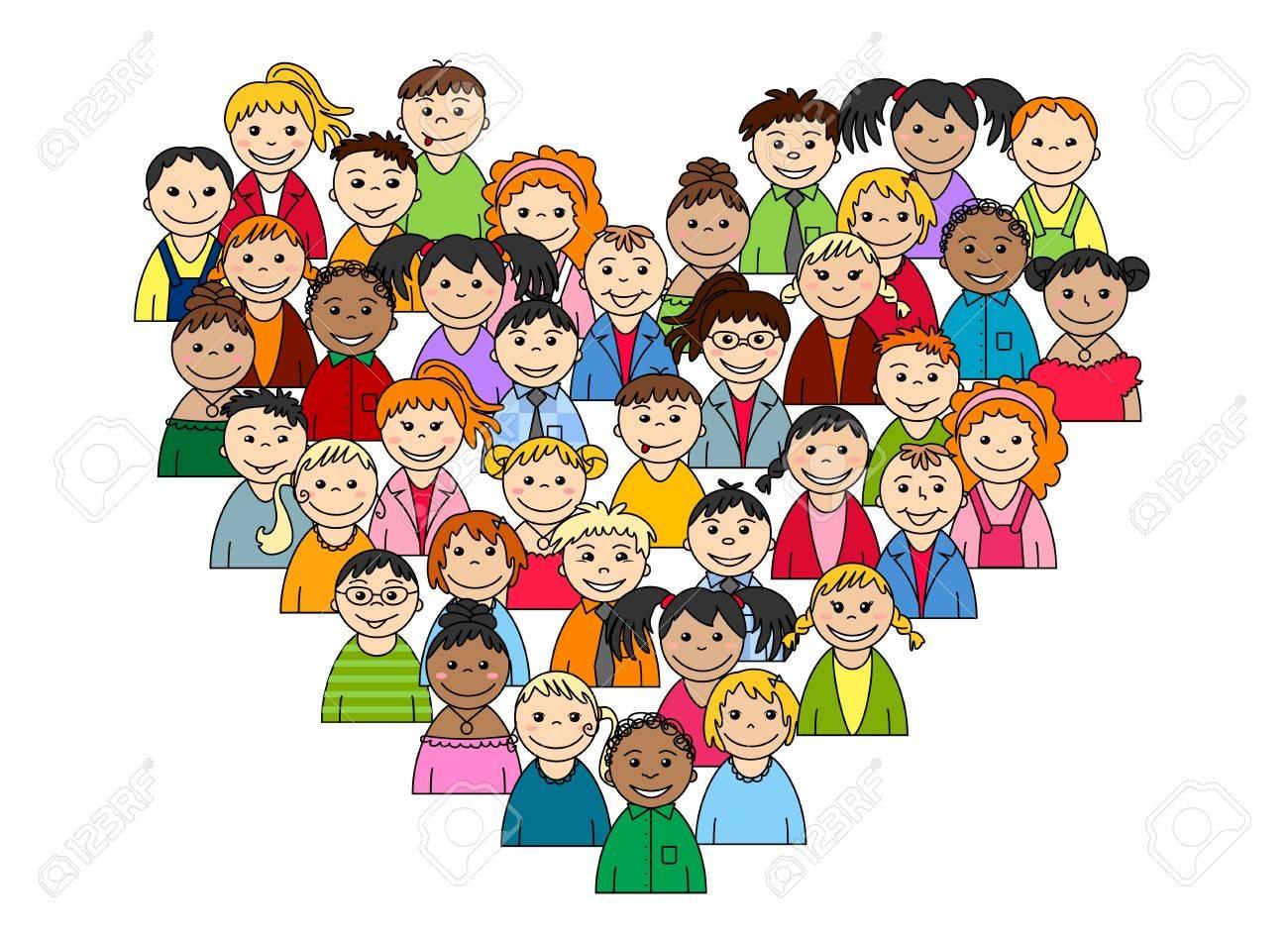 Del Corazon De Los Ninos Y Adolescentes Para El Amor O El Concepto De La Amistad Ilustraciones Vectoriales Clip Art Vectorizado Libre De Derechos Image 21770295
