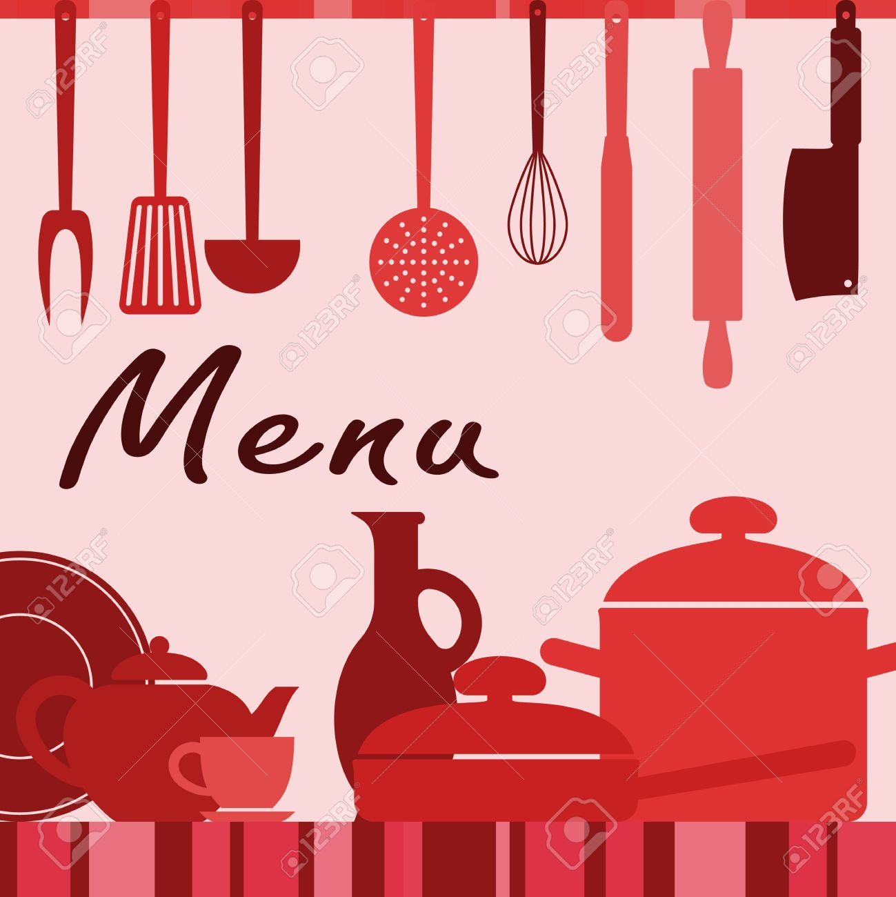 kitchenware and cooking process for menu background design royalty