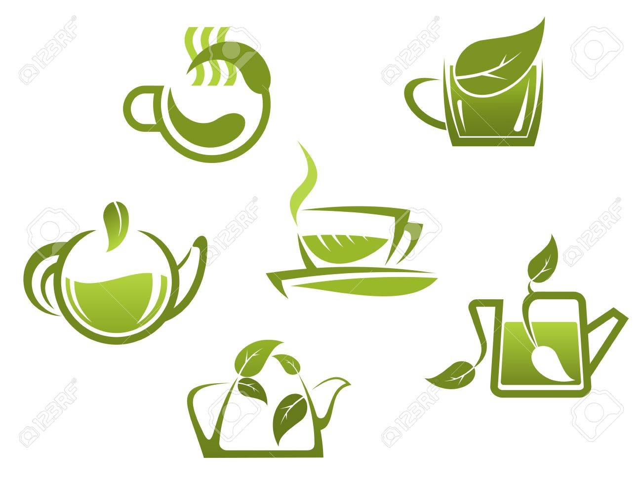 green tea symbols and icons for fast food or cafe design royalty