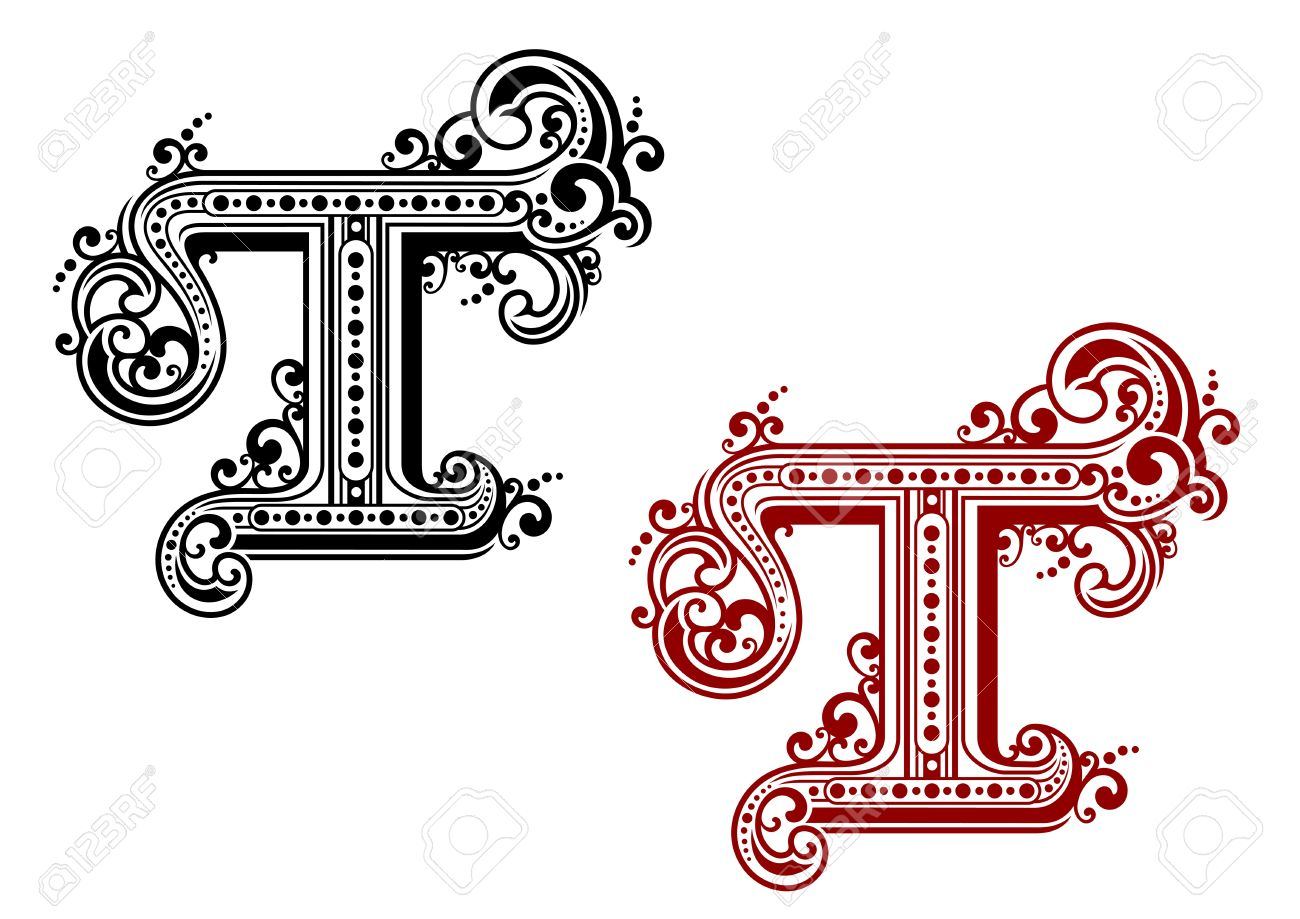 Capital Letter T In Retro Style For Design Stock Vector