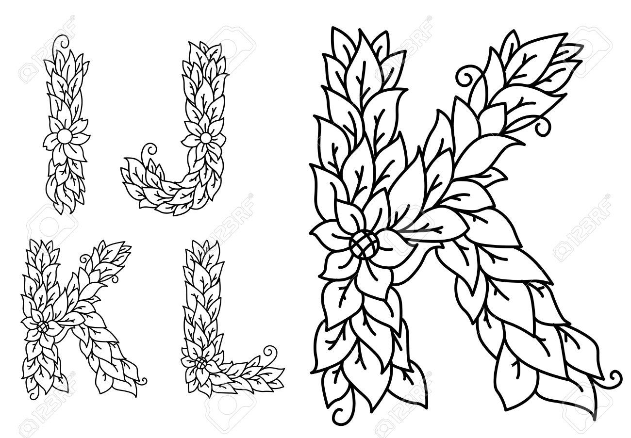 Set Of Letters I J K L In Floral Style For Design Stock