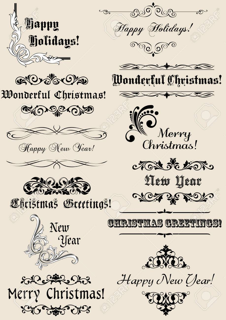Vintage Christmas and New Year headers with calligraphic elements Stock Vector - 22365188