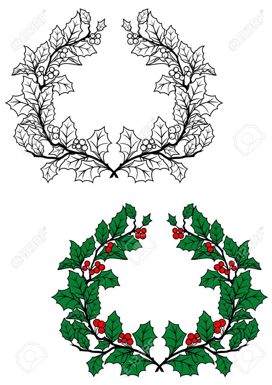Christmas holly wreath with green leaves and red berries in retro style Stock Vector - 22598901