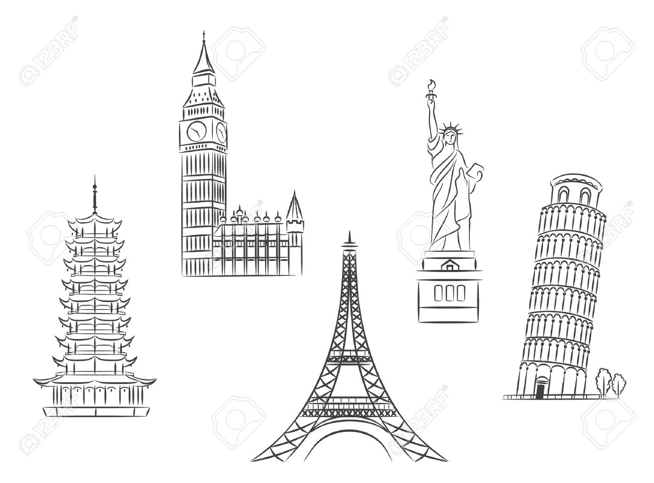 Travel landmarks set in sketch style for trip and journey concept design Stock Vector - 22598974