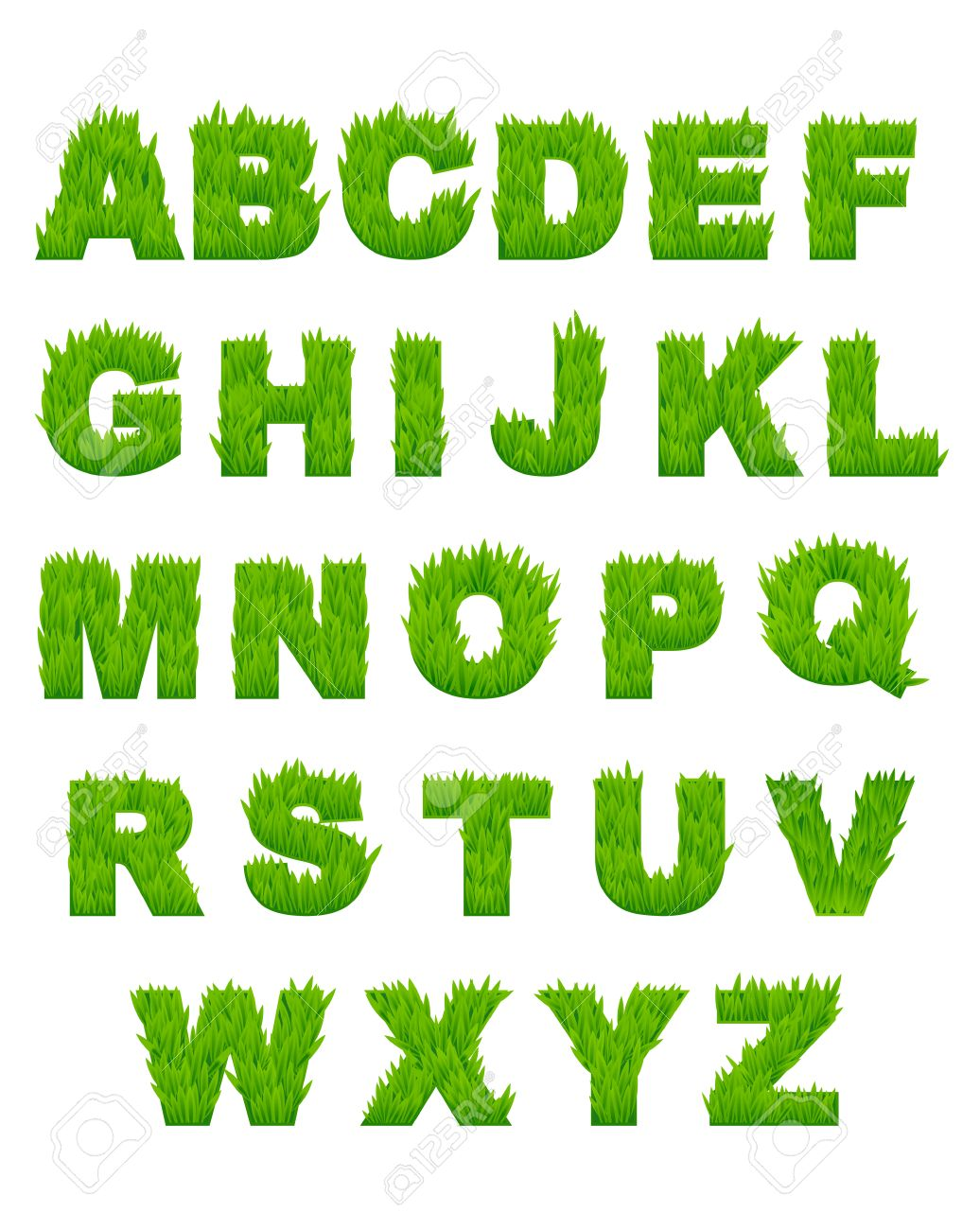 green grass letters of alphabet for environment or another design stock vector 23203256