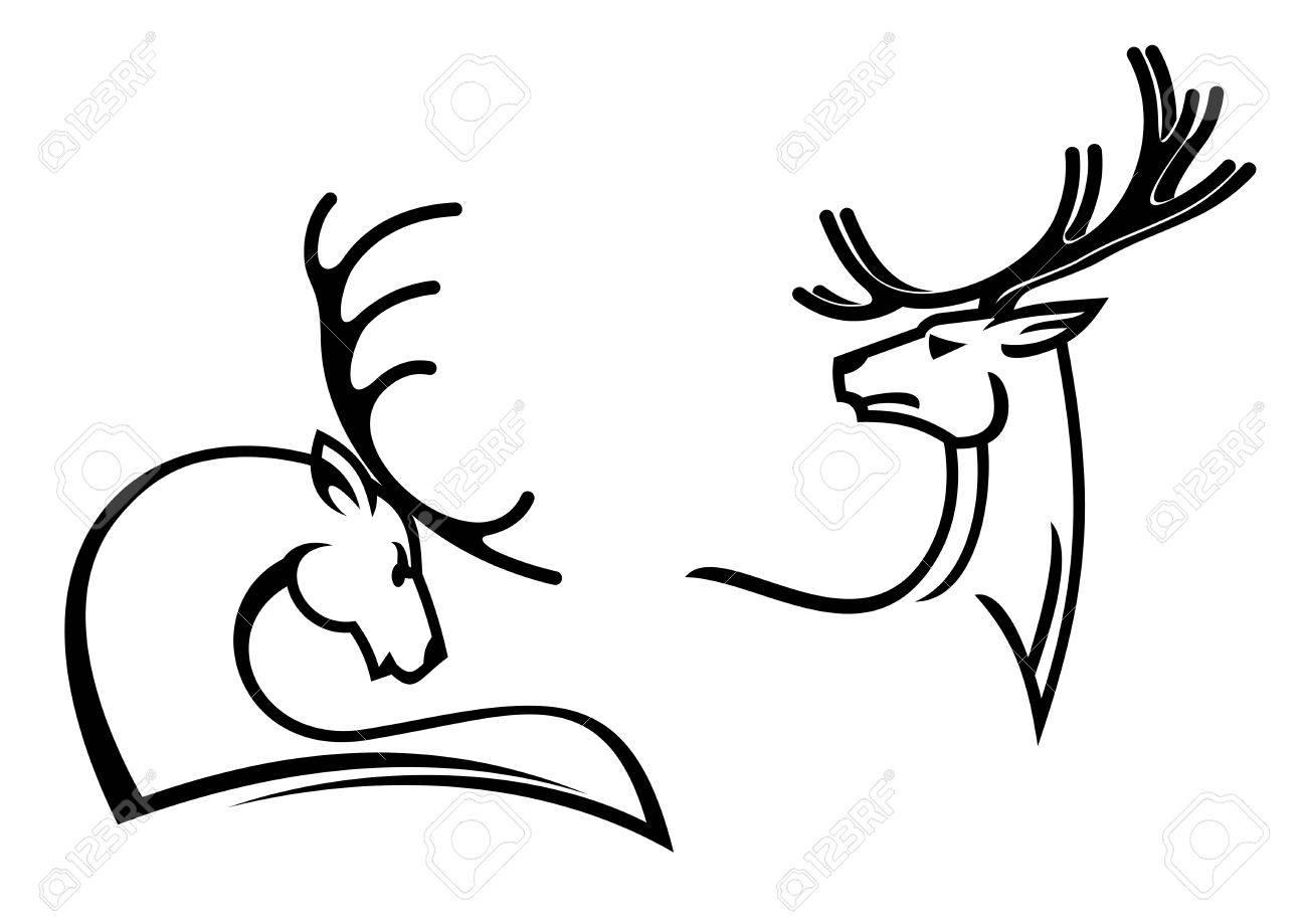 Ciervos Con Las Cornamentas Grandes Para Tatuaje La Mascota O - Simbolos-para-tatuaje