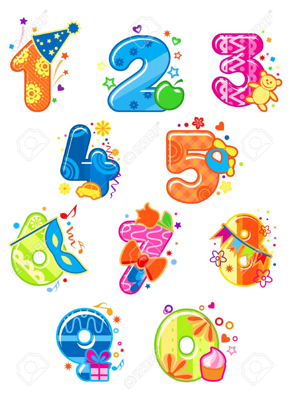 Cartoon digits and numbers with toys for childish mathematics design Stock Vector - 23884294