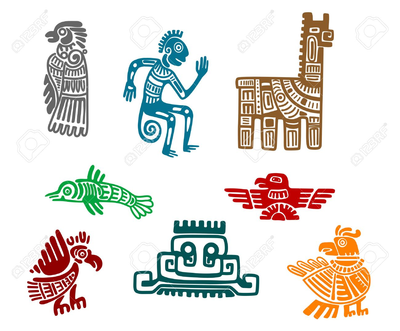 Aztec and maya ancient drawing art isolated on white background Stock Vector - 24024732