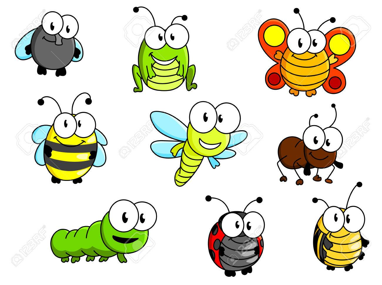 cartoon insects set isolated on white background for fairytale rh 123rf com cartoon insect superhero crossword cartoon insects clip art