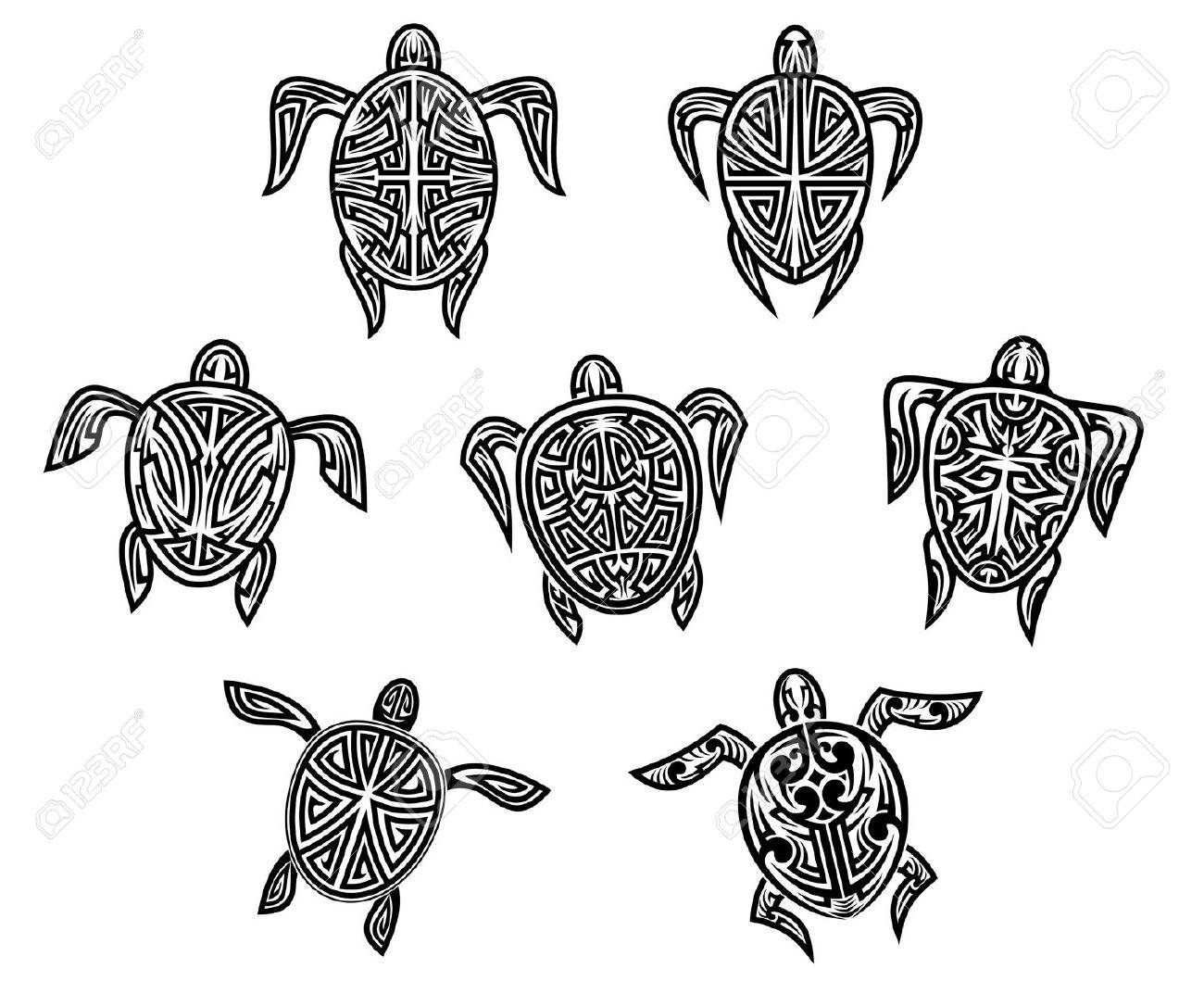 Tribal Turtles Tattoos Set Isolated On White Bnackground Royalty