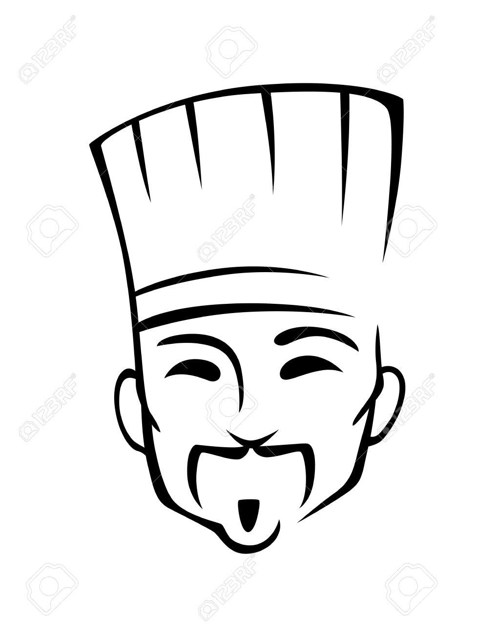 Chef Chinois Dans Le Style De Dessin Animé Pour Café Ou Un
