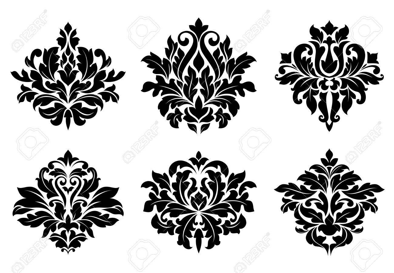 Decorative Floral Elements And Embellishments In Damask Vintage