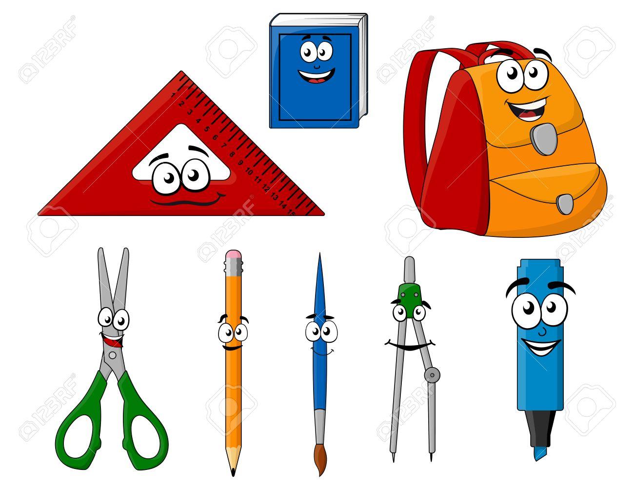 Los útiles Escolares Y Objetos En Estilo De Dibujos Animados Para El ...