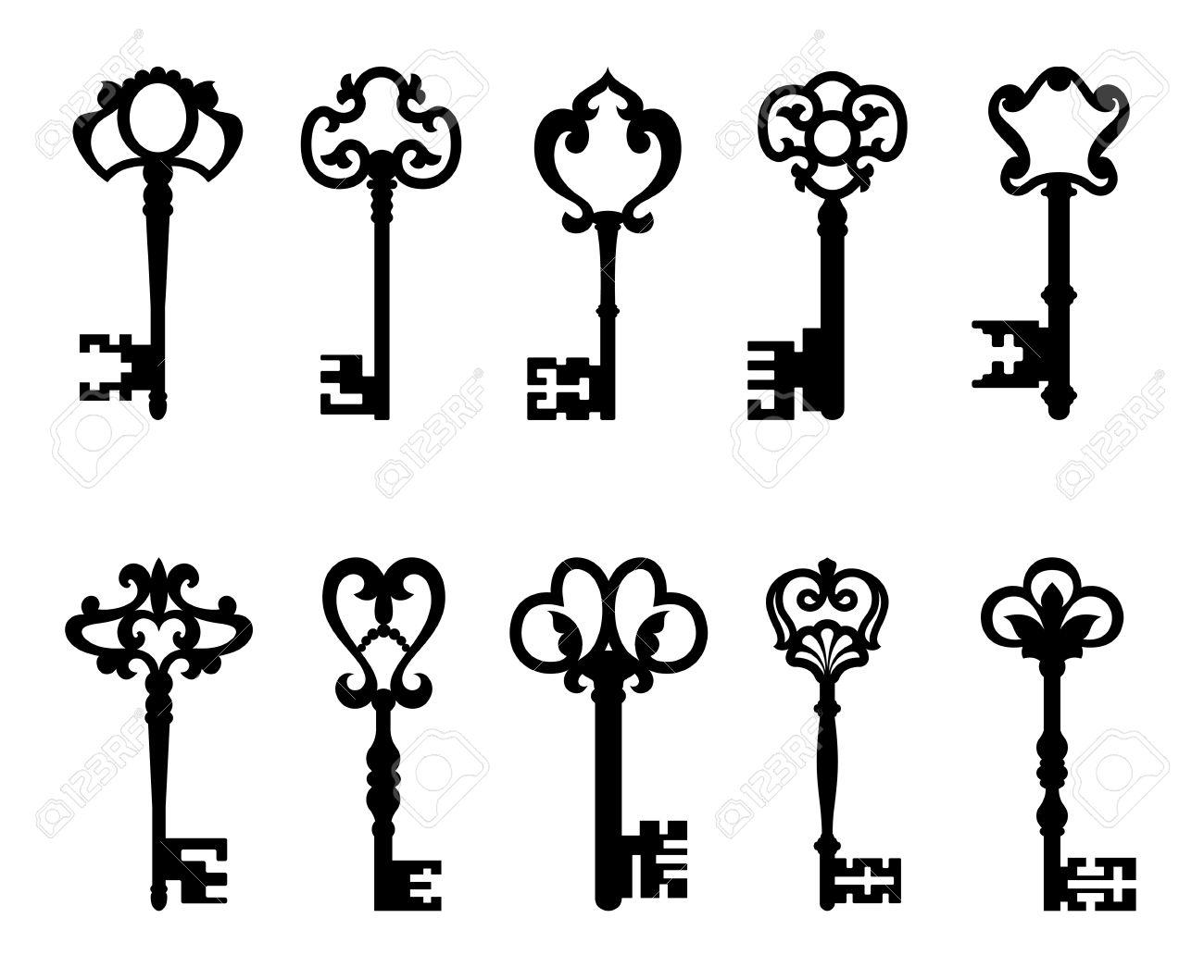 Vintage Key Clip Art skeleton key Black vintage