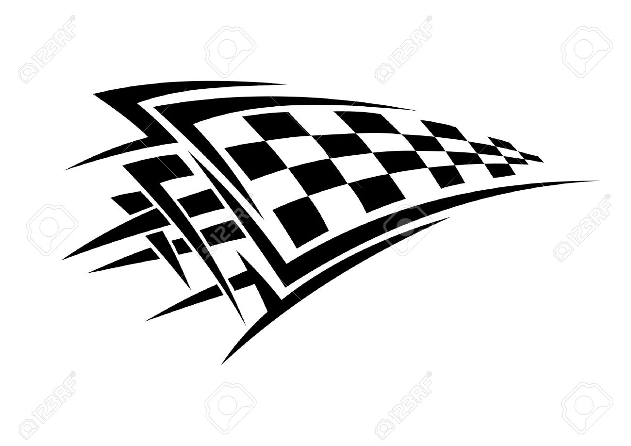 tribal sport racing tattoo with checkered flag royalty free cliparts rh 123rf com checkered flag logo vector