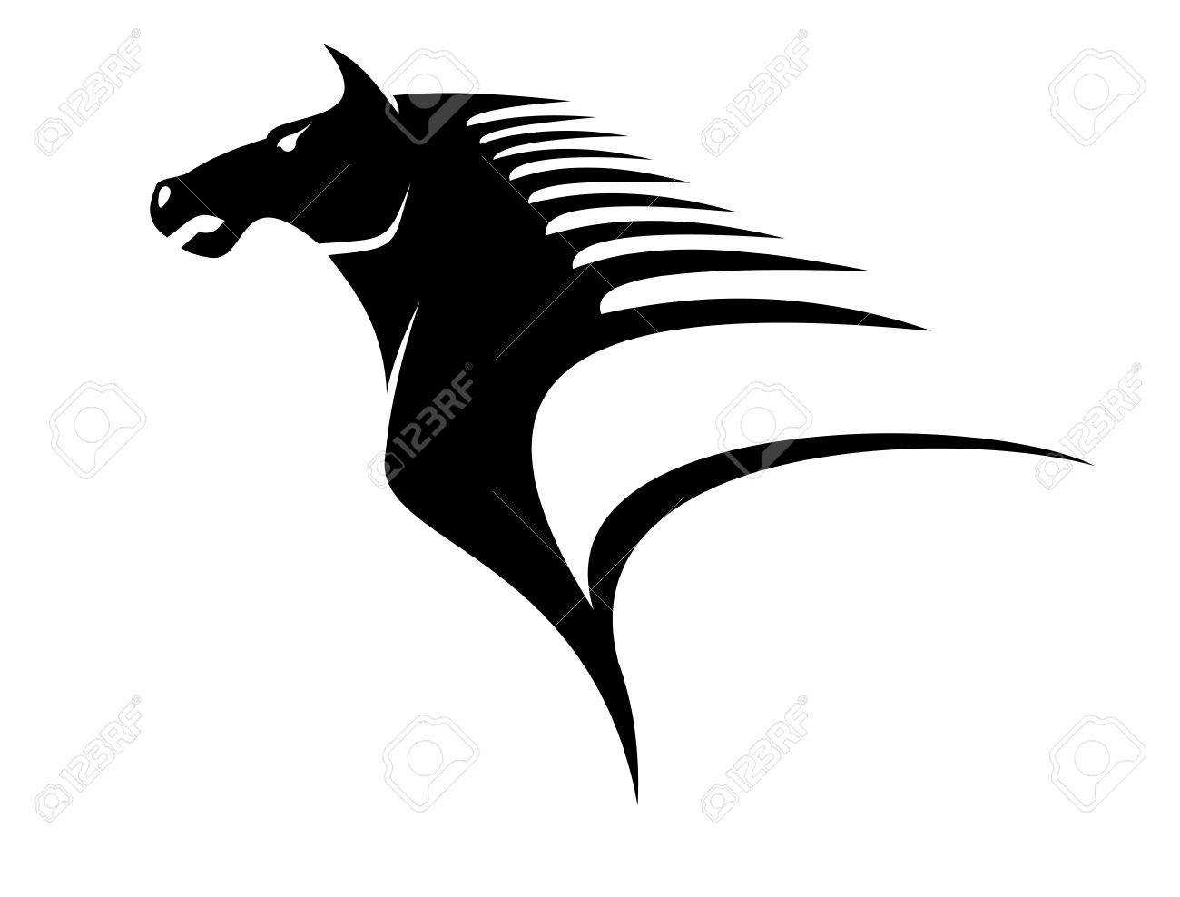 Stylized black and white illustration of the head of a horse