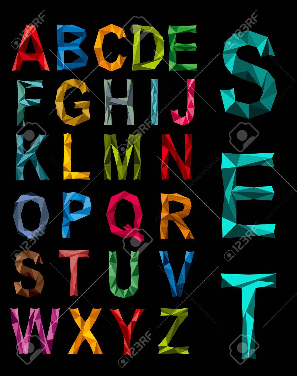 Faceted complete alphabet set in the colours of the rainbow in uppercase on a black background Stock Vector - 25037749