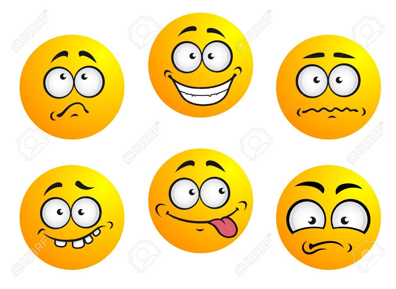 Set Di Sei Emoticon Giallo Tondo Che Mostrano Espressione Facciale Raffigurante La Felicità La Tristezza Timido Sconcertato Imbarazzato Lingua E