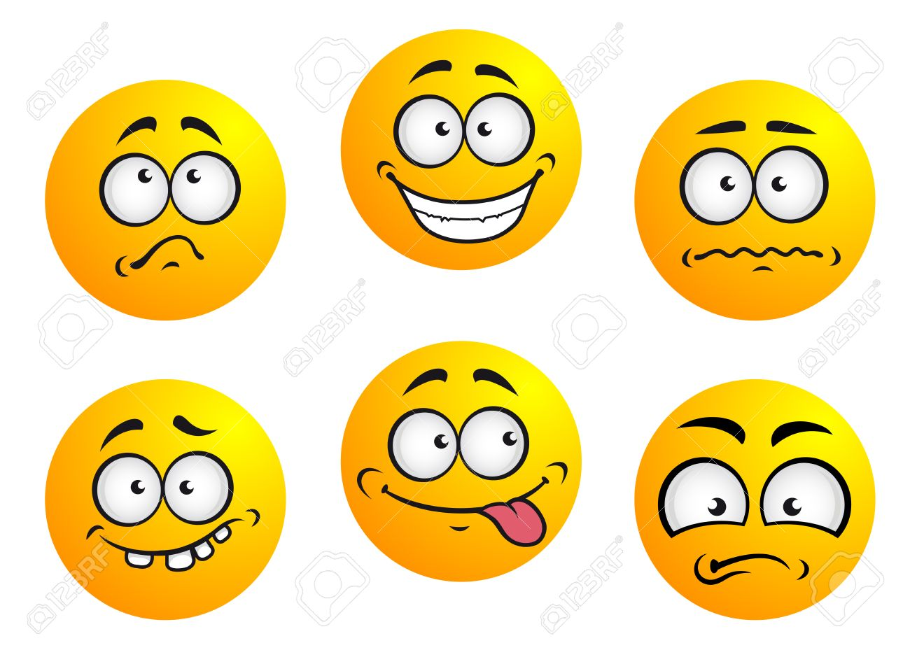 Set of six round yellow emoticons showing facial expression depicting happiness, sadness, bashful, nonplussed, embarrassed, tongue out and toothy - 25157434