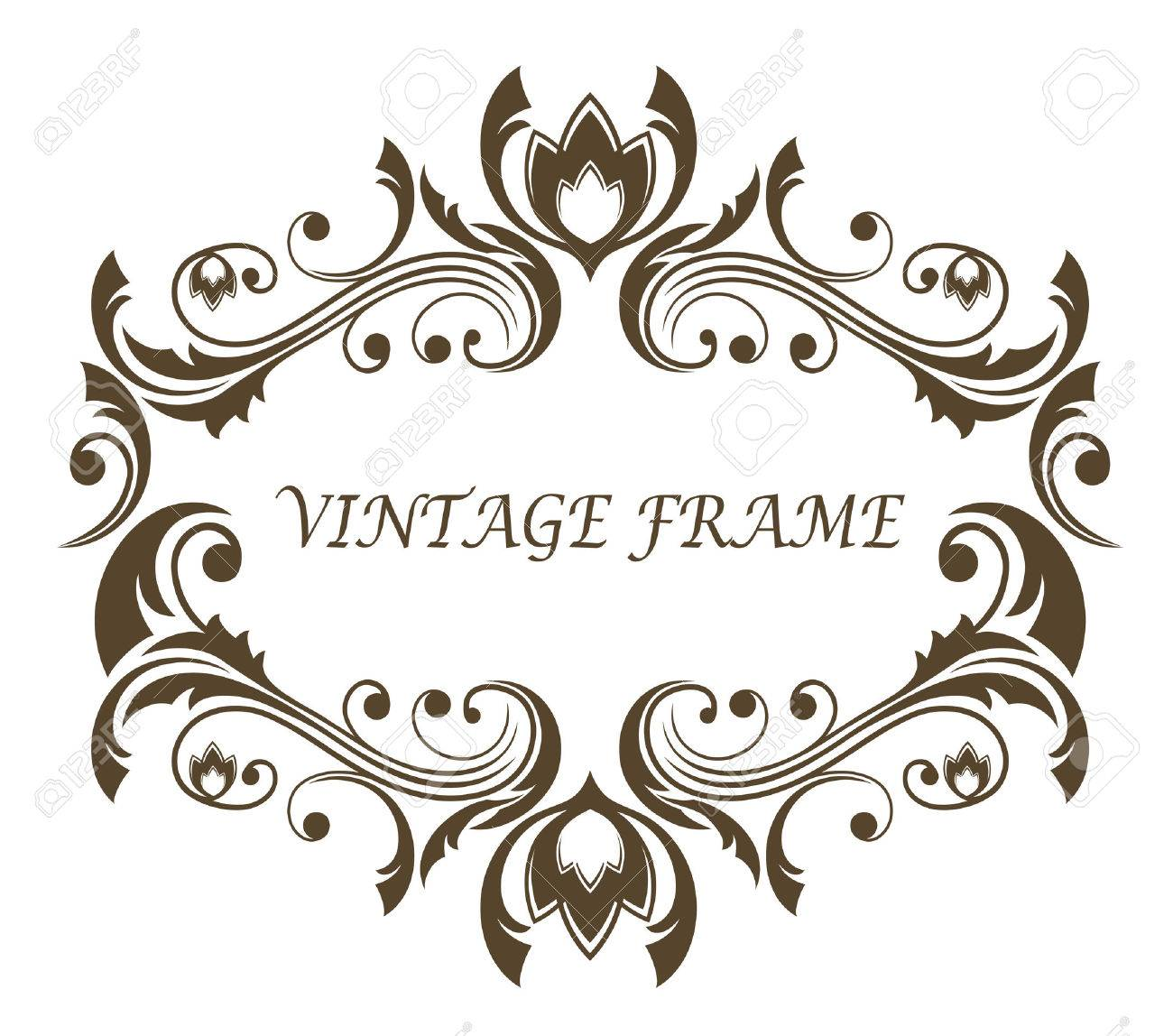 Vintage Floral And Foliate Frame With Symmetrical Scrolling Foliage ...