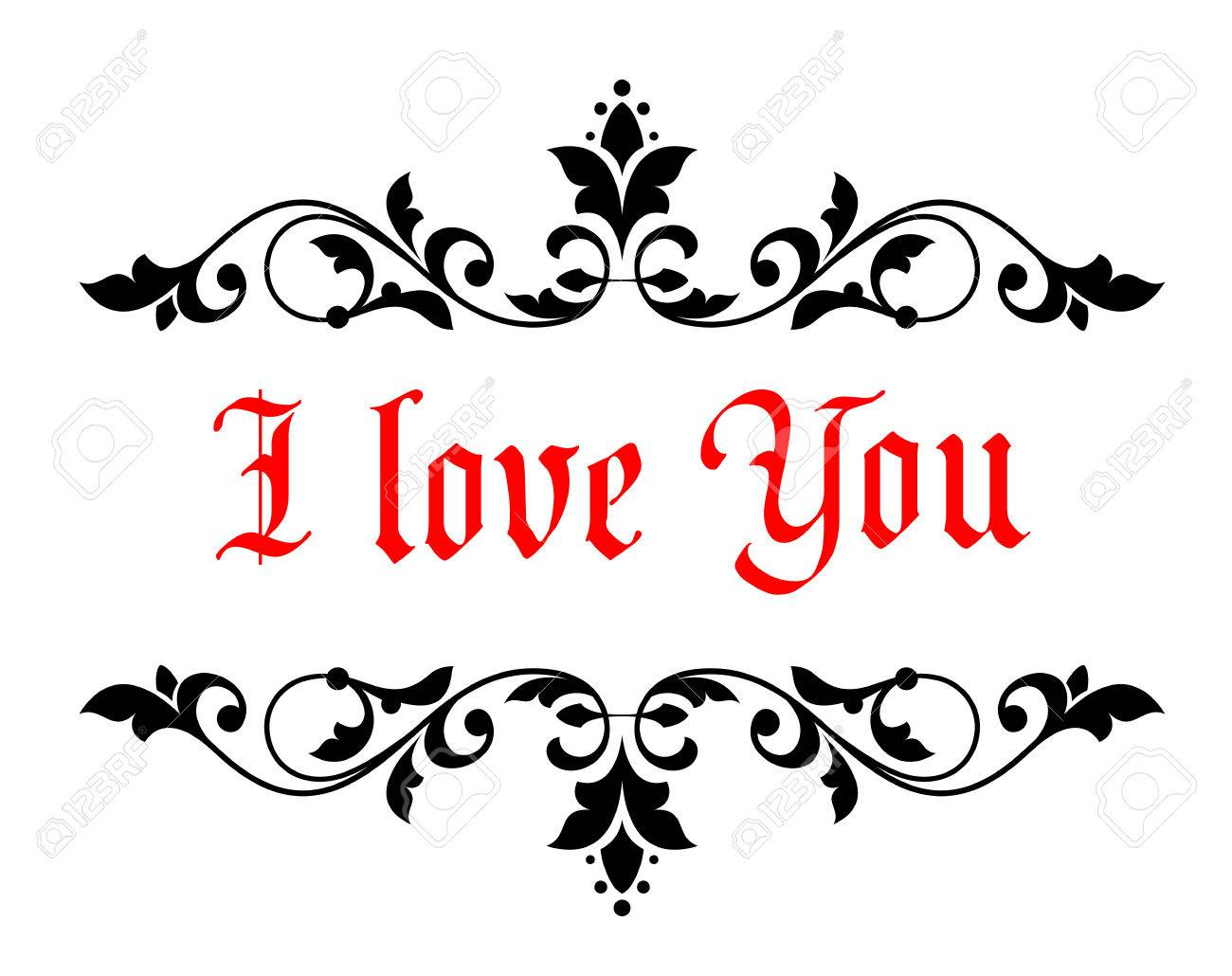 I love you stock photos royalty free business images intricate calligraphic i love you valentines message in a scrolled floral header and footer for a biocorpaavc