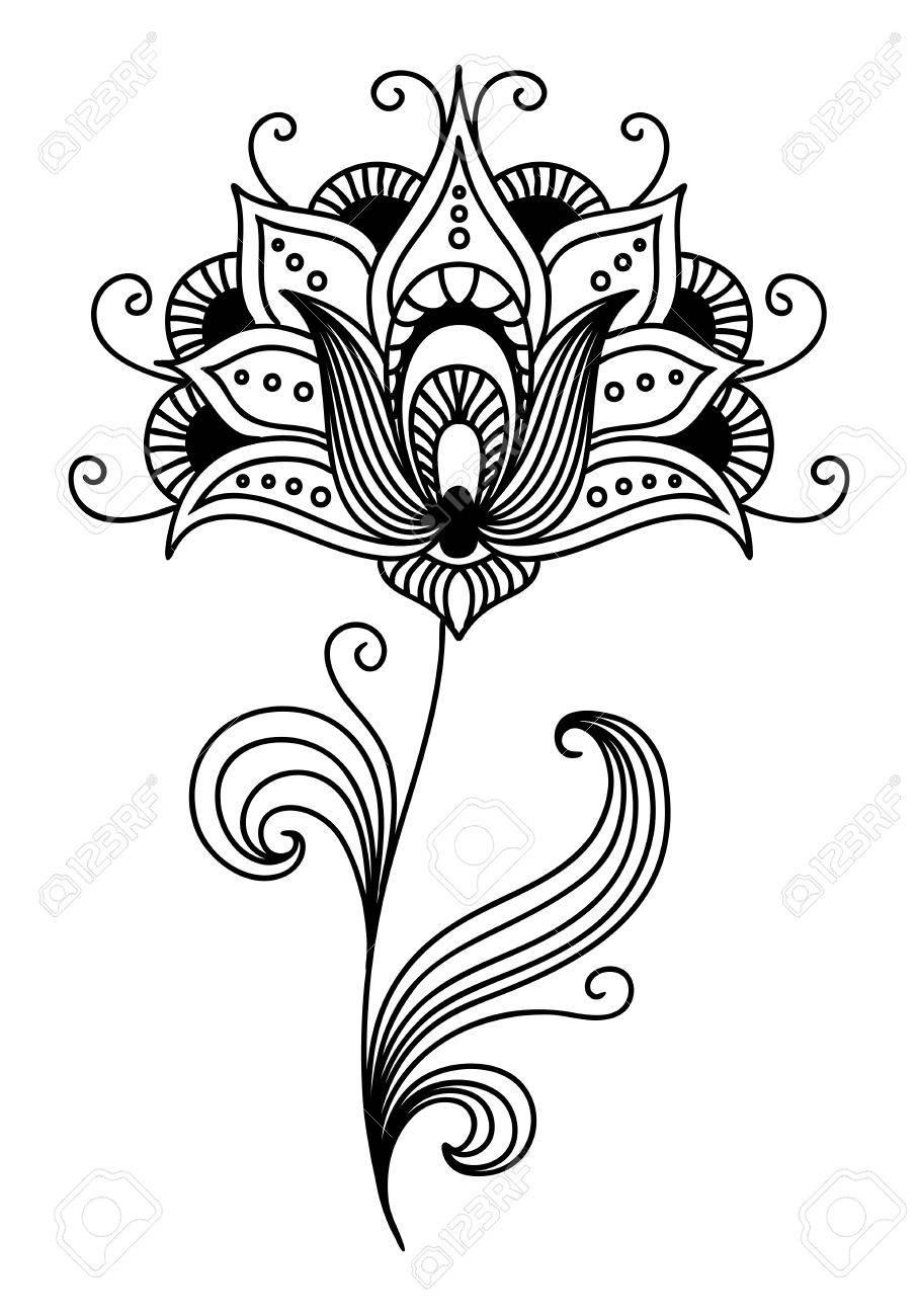 Ornate persian single flower design with pretty curling petals ornate persian single flower design with pretty curling petals and tendrils and swirling leaves illustration mightylinksfo