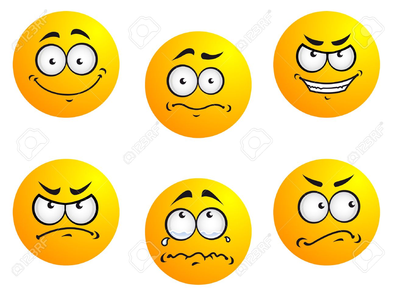 Different smiles expressions and moods for emoticons design Stock Vector -  25398759