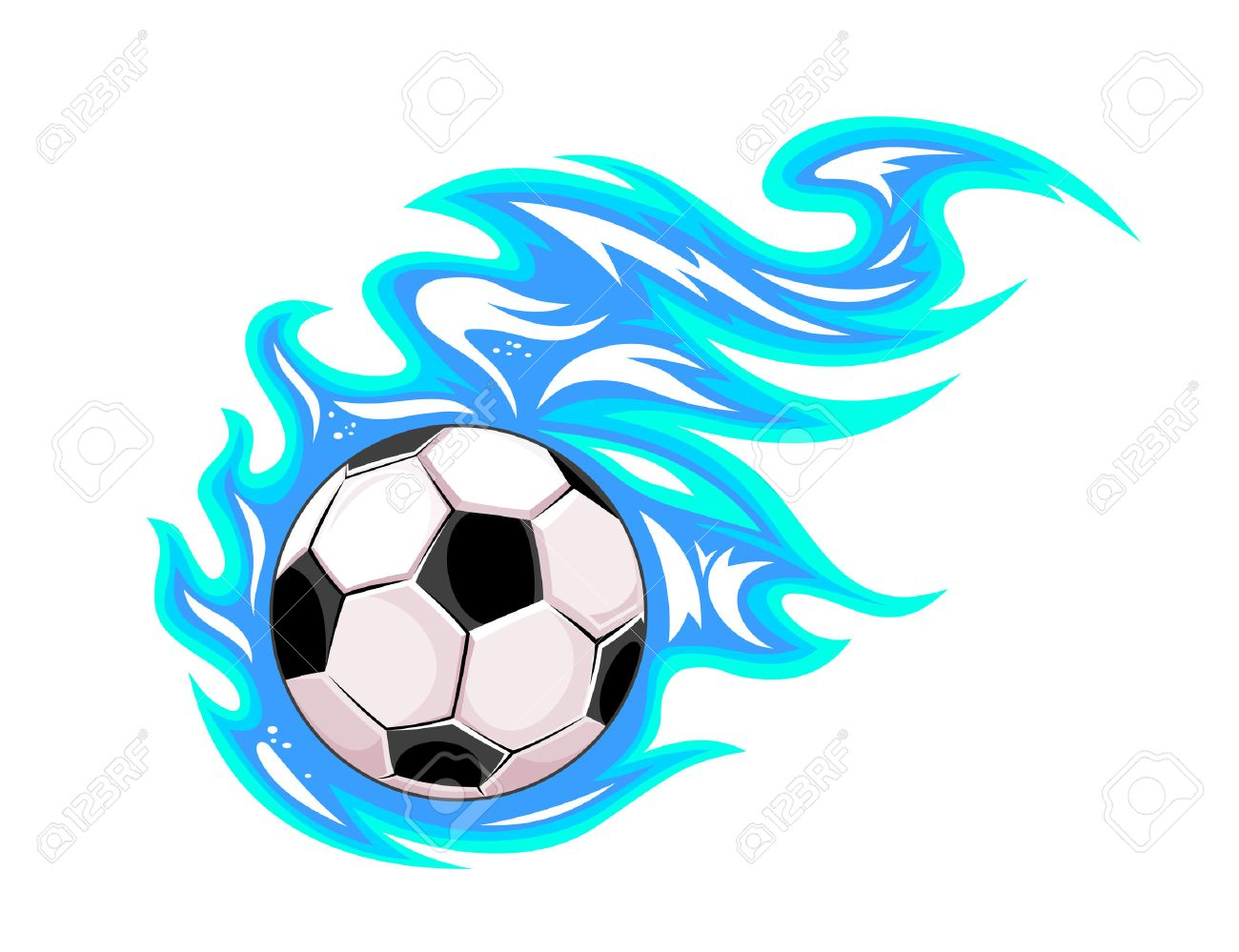 Championship Soccer Ball Or Football Leaving A Blue Trail As ...