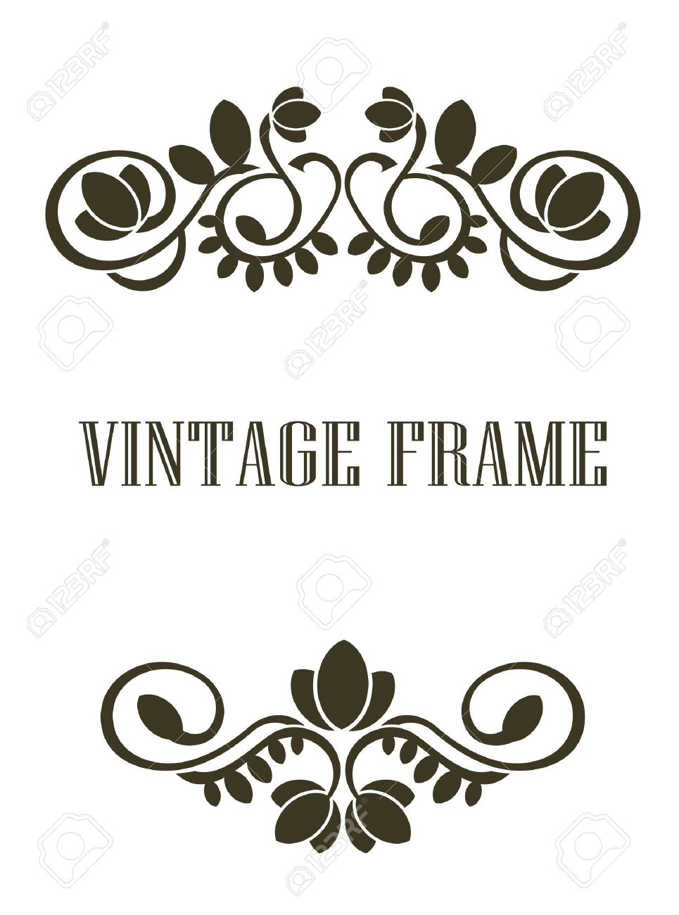 Black And Calligraphic Vintage Frame Border Elements Or Header Footer With A Swirling Floral