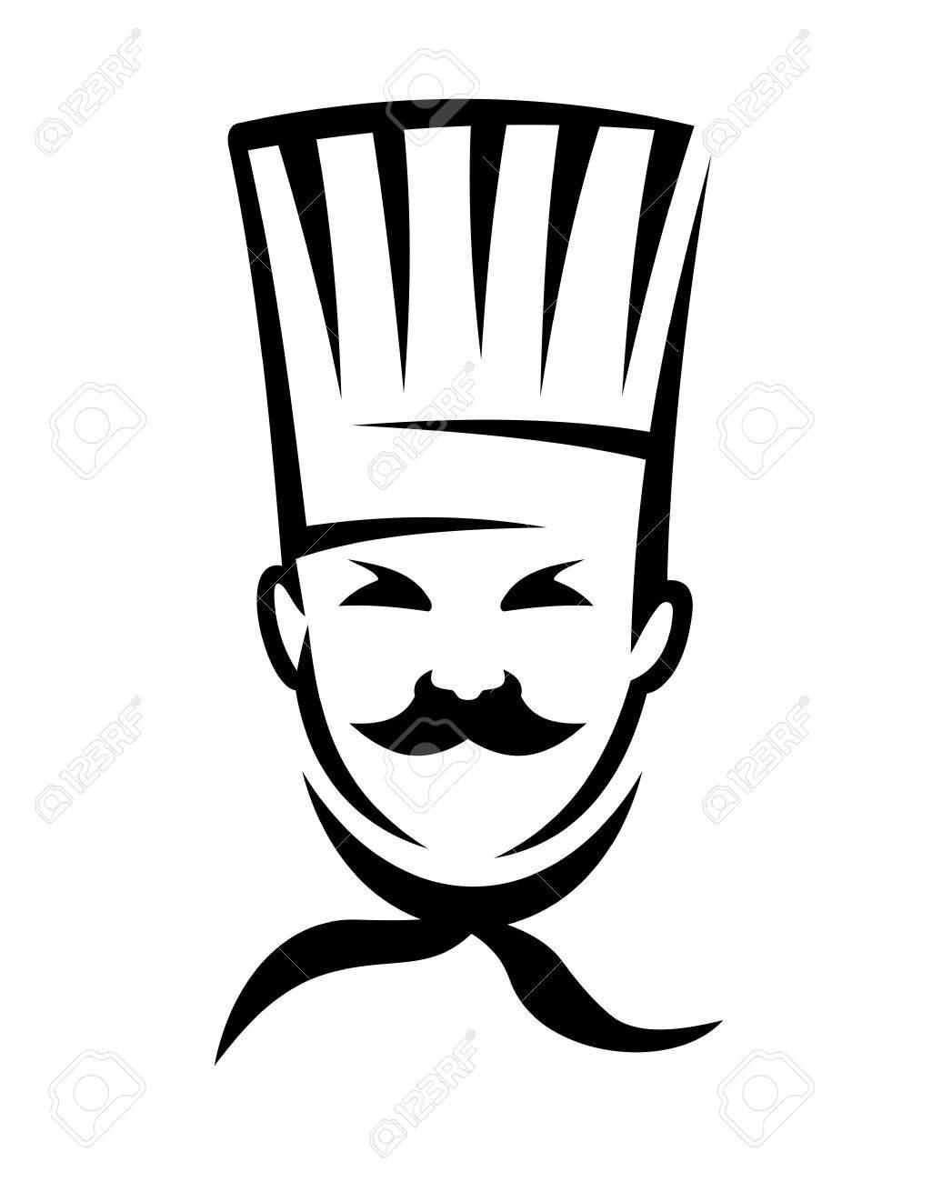 Deutsch Küche Chef Mit Einem Hut Und Schnurrbart In Schwarz Und Weiß ...