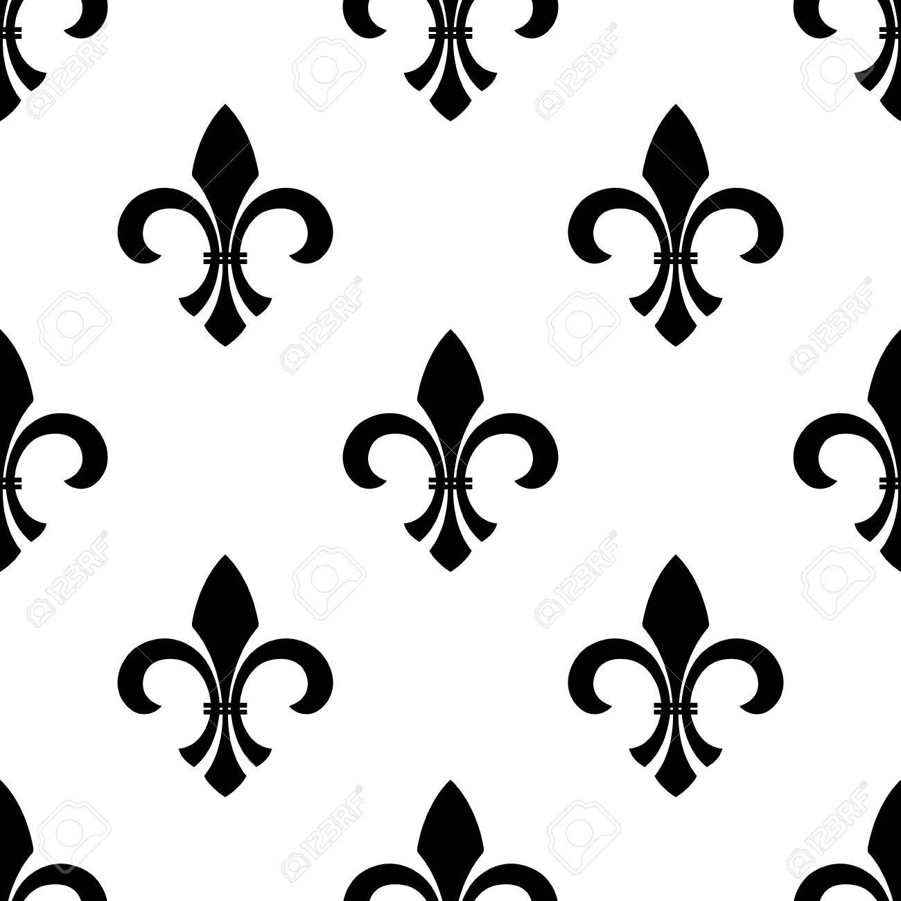 seamless of a fleur de lys motif in a repeating pattern in black