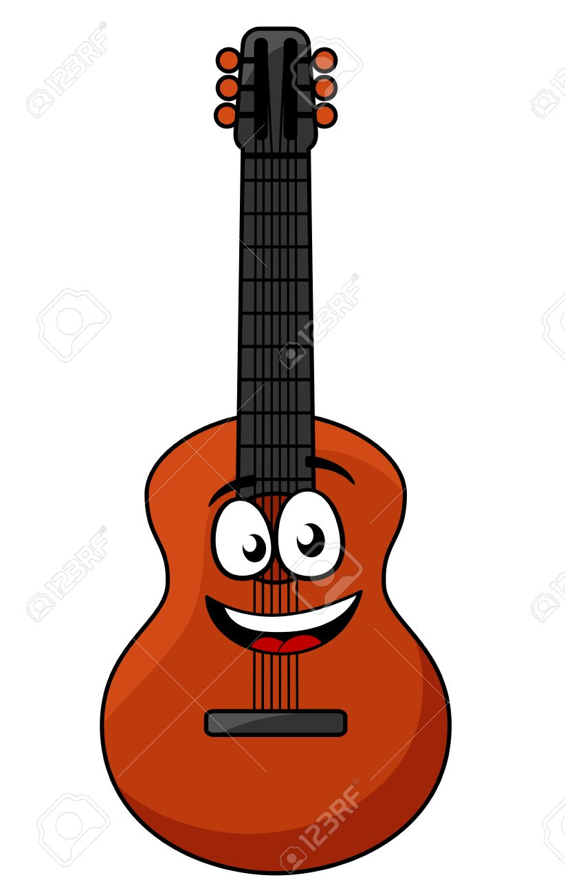 cartoon happy wooden guitar with a smiling face ready for some rh 123rf com Musical Vectors Guitar Vector Background