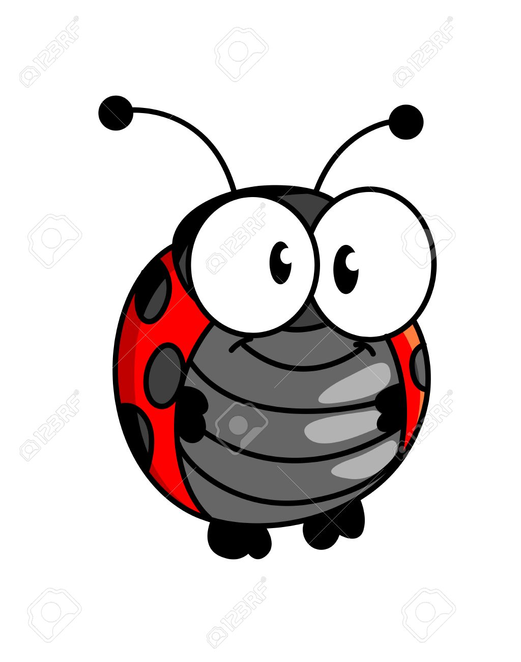 Red And Black Spotted Smiling Happy Little Ladybug Or Ladybird In ...