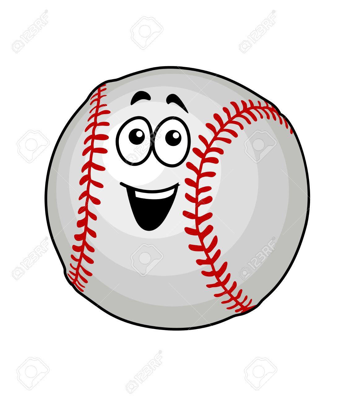 cartoon vector illustration of a fun happy baseball ball with