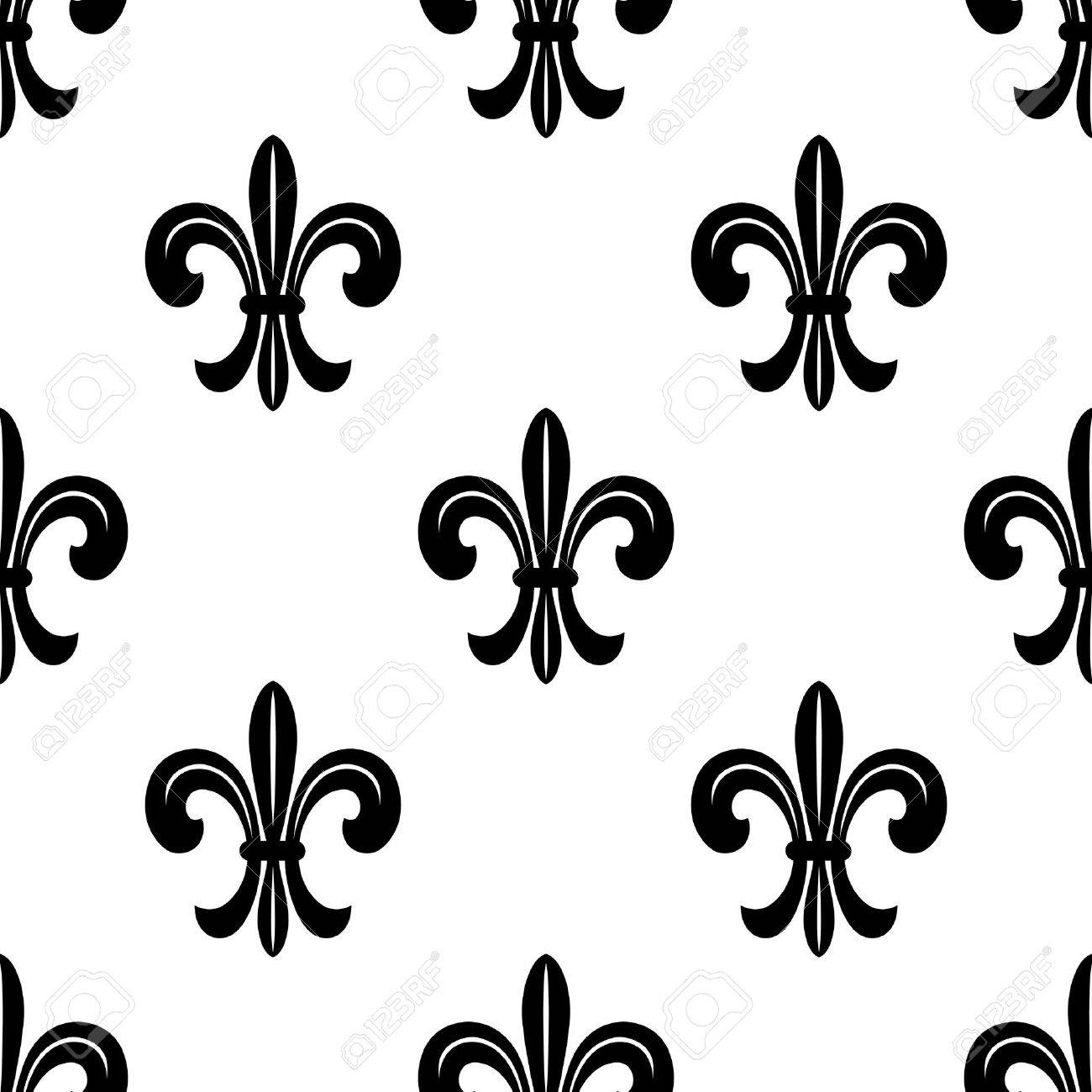 Stylized French Fleur De Lys Seamless Pattern In Black And White Suiable For Fabric Print