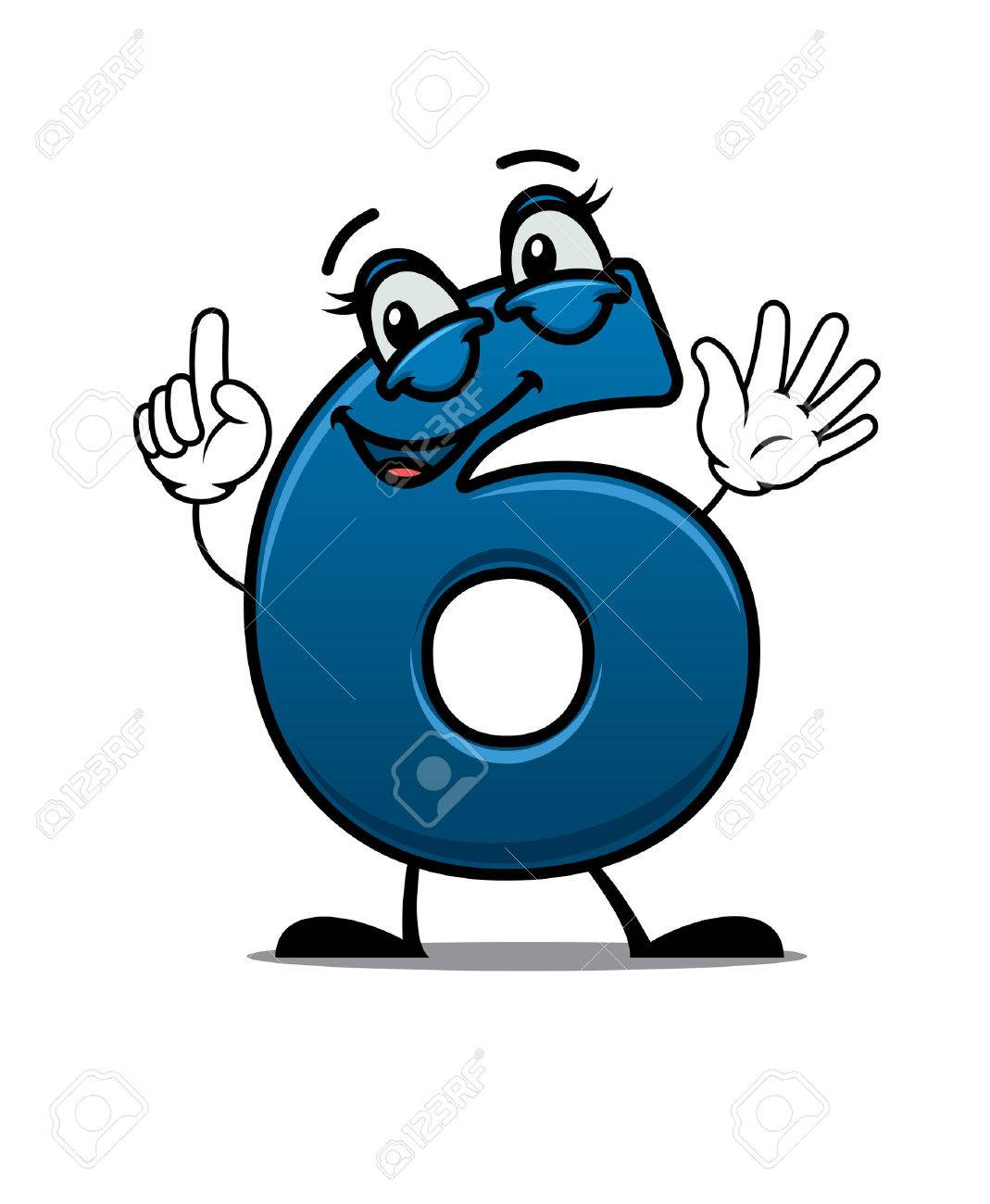 waving happy number 6 with an adorable smile raising a finger for attention cartoon vector