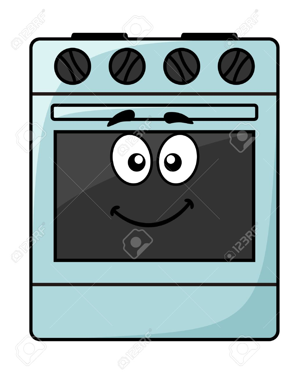 Cartoon kitchen appliances - Cartoon Kitchen Appliance A Happy Smiling Freestanding Electrical Oven Unit With Big Googly Eyes Isolated