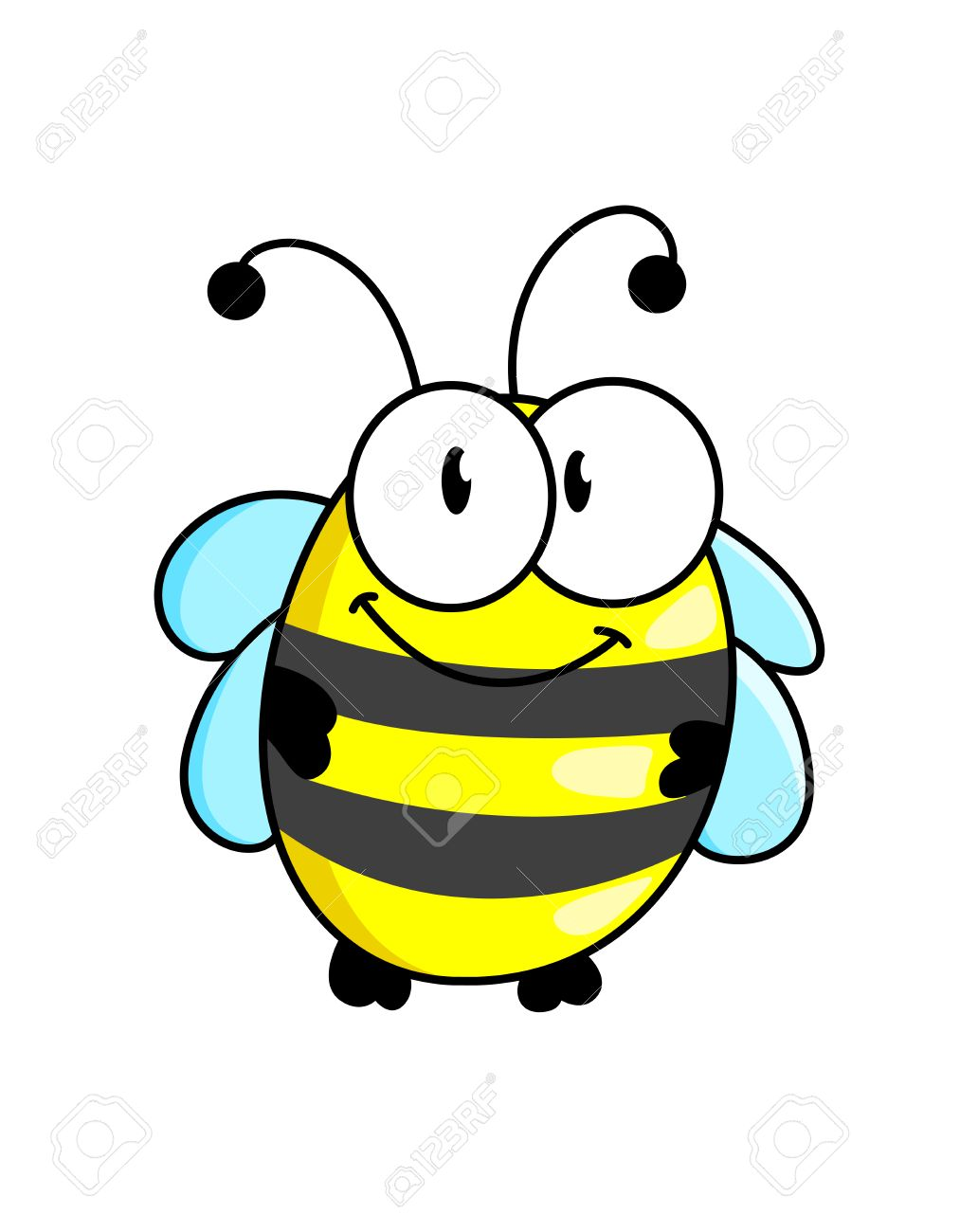 Cartoon cute striped little bumble bee or honey bee with a happy smile isolated on white